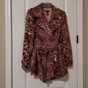 INC leopard print trench coat